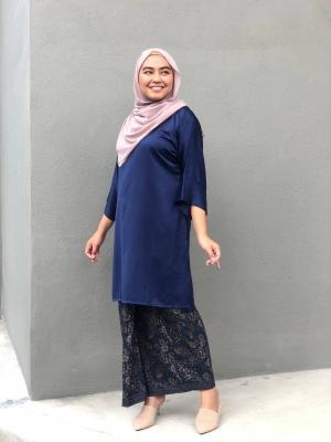 Jasmine Tunic Kurung in Navy Blue